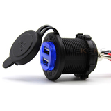 Dual True 4.2 Amp USB Charger Socket Plug Outlet Waterproof No LED Panel Mount for car mot