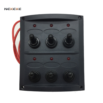 6 GANG TOGGLE SPLASHPROOF LED SWITCH PANEL