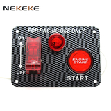 Engine Start Push Button Toggle Red LED Autos Carbon-Look Ignition Switch Panel