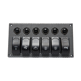 6 Gang Laser Etched 2 LED Rocker & Circuit Breaker Waterproof Marine Boat Rv Switch Printing Panel -