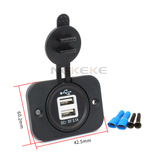 12v dual usb power socket outlet for car motorcycle marine boat