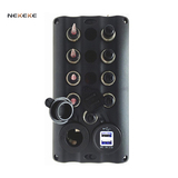 4P Toggle switch panel with power socket, USB socket  fuseholder