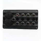 4P Toggle switch panel with 2 power socket
