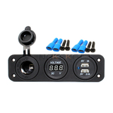 Marine Caravan 12V DC Cigarette Lighter Digital Voltmeter Car Dual USB Charger Socket