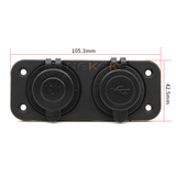 New design black car usb flush mount socket with CE digital voltage display