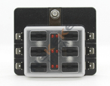 DC32V 6 Way Blade Fuse Box Holder with Red LED Warning Light Kit for Car Boat Marine