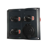 3 Gang Led Toggle Switch Panel With 1 Power Socket for Boat and RVS - PN-TF3J-S