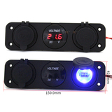 DC Waterproof Car Truck Boat Voltmeter and USB Charger and Power socket with 3 Hole Panel