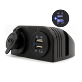 Autos Truck Dual 3.1A Blue USB Charger 12V Cigarette Lighter Outlet Socket1