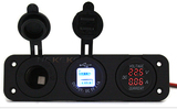 DC 12V 24V Waterproof Marine Caravan Digital Voltmeter Car Dual USB Charger Socket